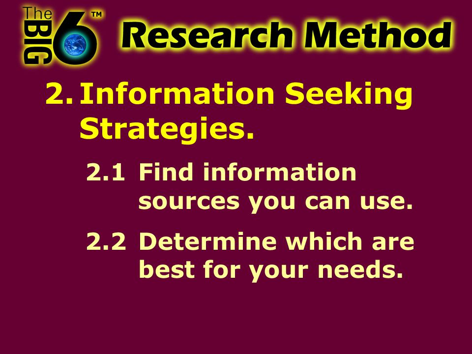 Figuring Out What You Need What is the main purpose of your research.