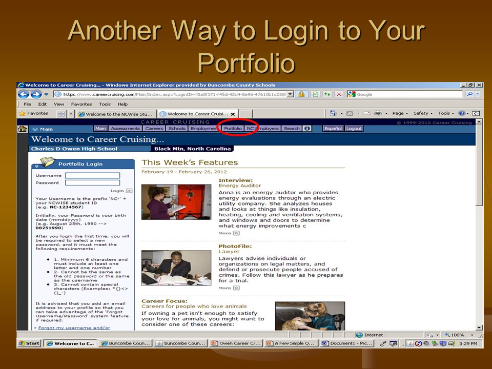 Another Way to Login to Your Portfolio