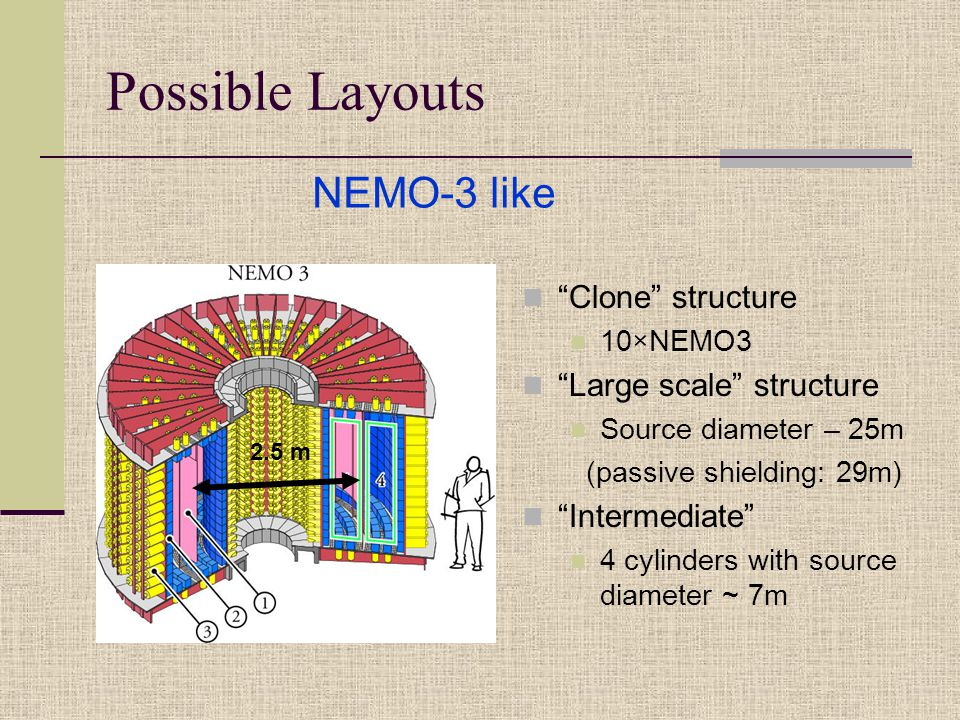 Possible Layouts Clone structure 10×NEMO3 Large scale structure Source diameter – 25m (passive shielding: 29m) Intermediate 4 cylinders with source diameter ~ 7m NEMO-3 like 2.5 m