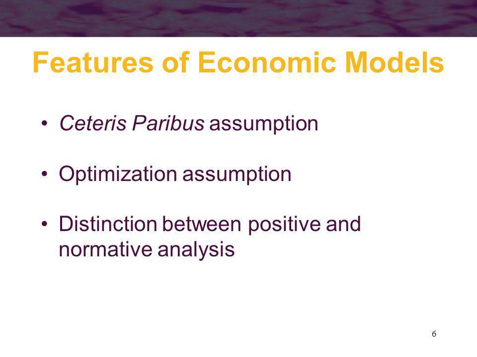 6 Features of Economic Models Ceteris Paribus assumption Optimization assumption Distinction between positive and normative analysis