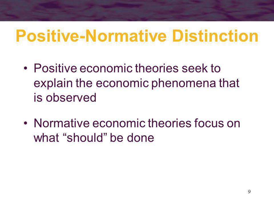 9 Positive-Normative Distinction Positive economic theories seek to explain the economic phenomena that is observed Normative economic theories focus
