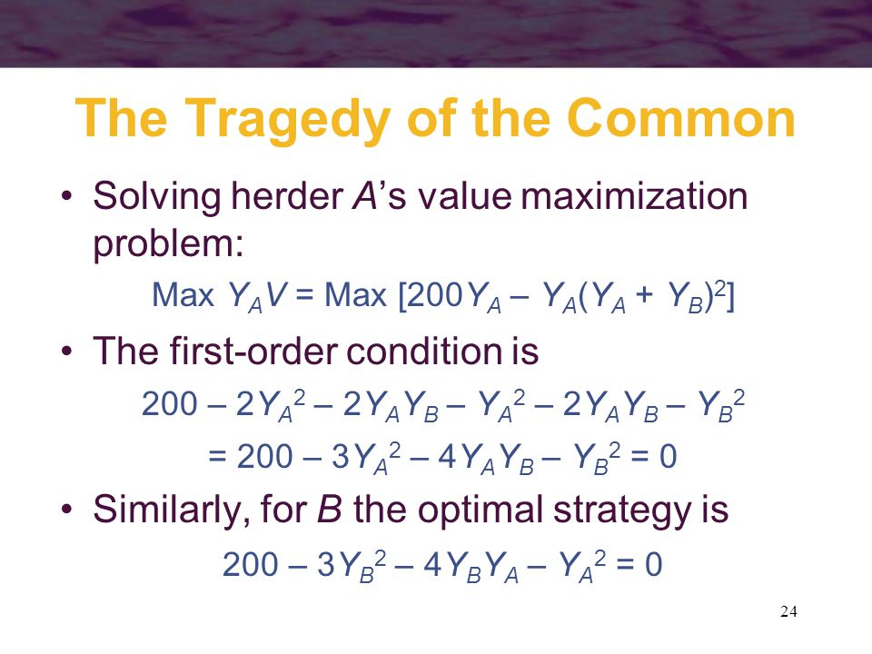24 The Tragedy of the Common Solving herder A's value maximization problem: Max Y A V = Max [200Y A – Y A (Y A + Y B ) 2 ] The first-order condition i
