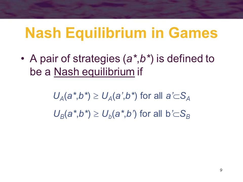 40 Prisoners' Dilemma Finite Game B's Strategies LR A's Strategies U1,13,0 D0,32,2 If the game was played only once, the Nash equilibrium A:U, B:L would be the expected outcome