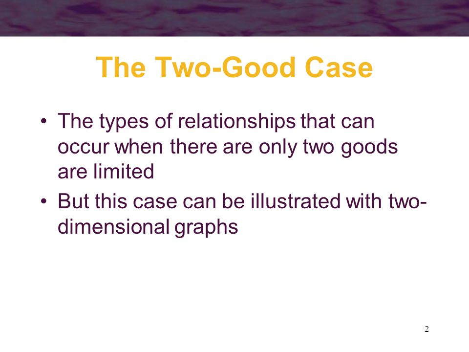 2 The Two-Good Case The types of relationships that can occur when there are only two goods are limited But this case can be illustrated with two- dim