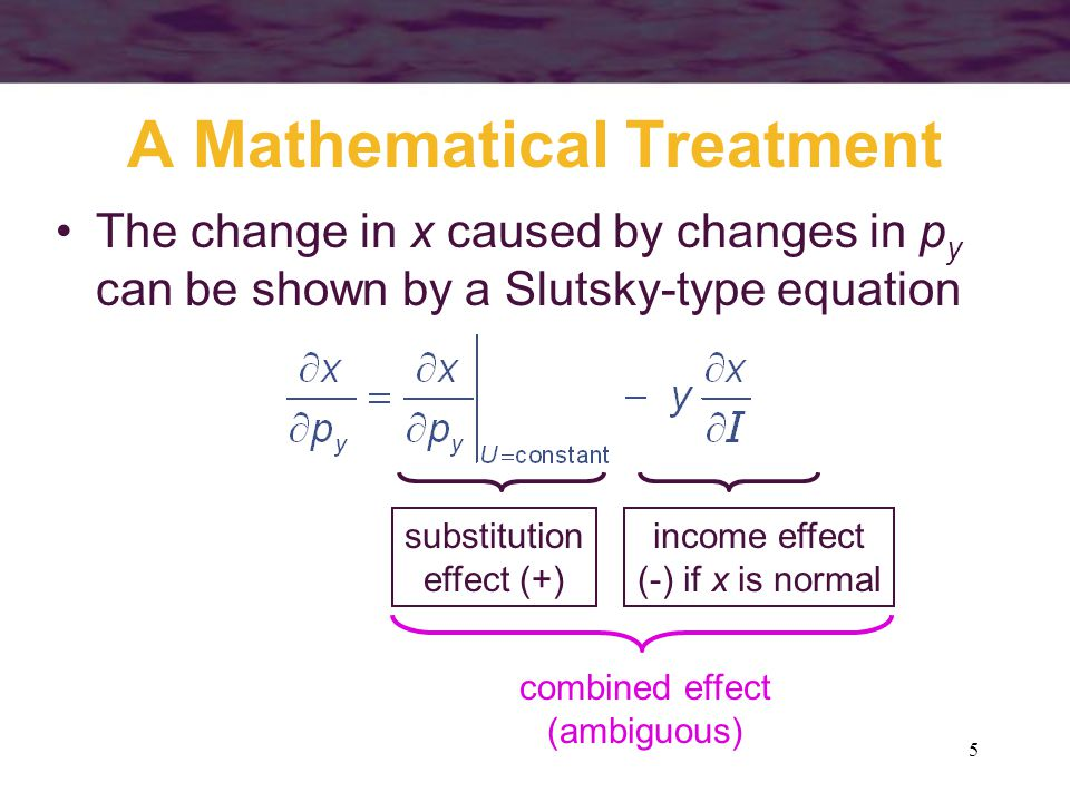 6 Substitutes and Complements For the case of many goods, we can generalize the Slutsky analysis for any i or j –this implies that the change in the price of any good induces income and substitution effects that may change the quantity of every good demanded