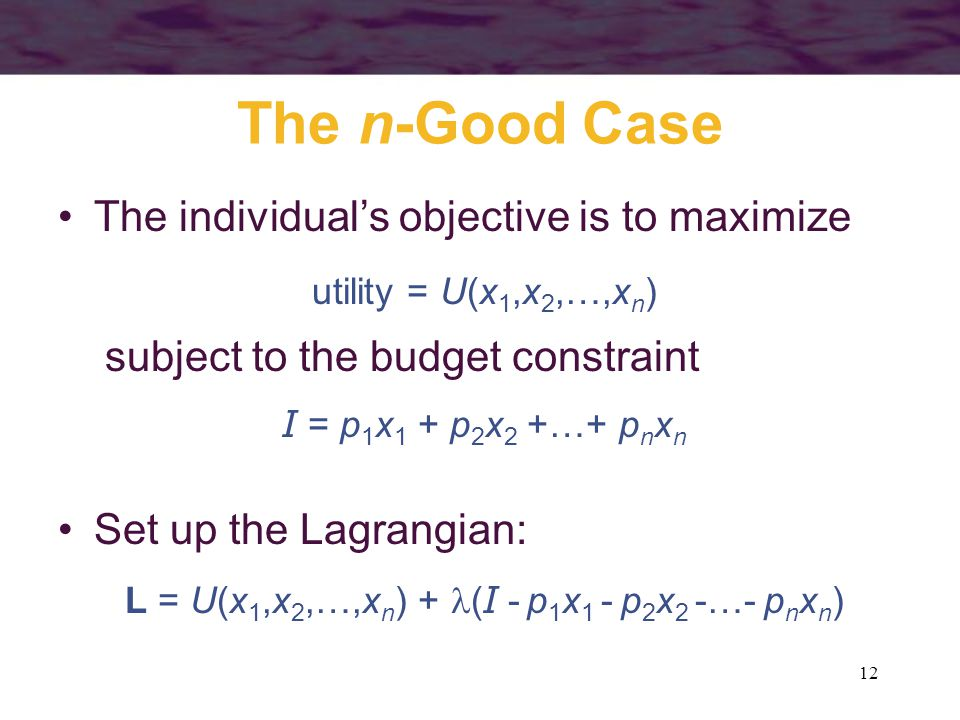 12 The n-Good Case The individual's objective is to maximize utility = U(x 1,x 2,…,x n ) subject to the budget constraint I = p 1 x 1 + p 2 x 2 +…+ p