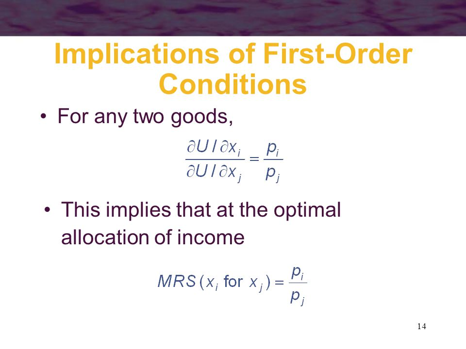 14 Implications of First-Order Conditions For any two goods, This implies that at the optimal allocation of income