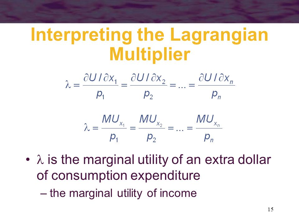 15 Interpreting the Lagrangian Multiplier is the marginal utility of an extra dollar of consumption expenditure –the marginal utility of income