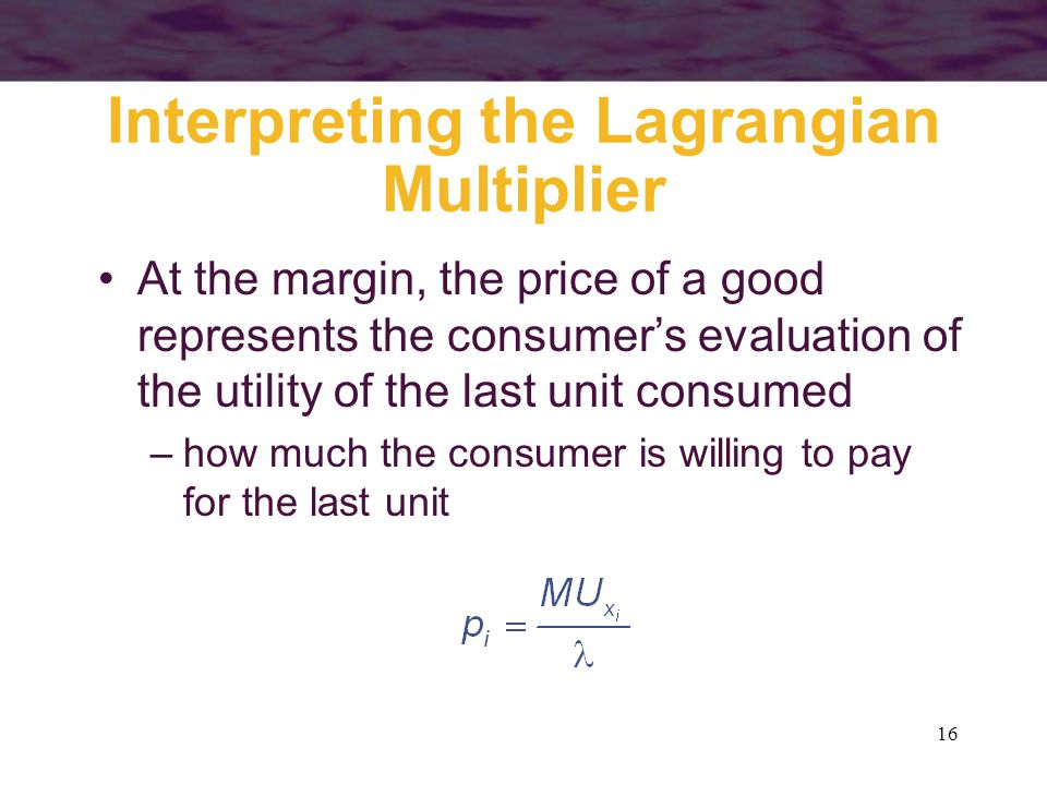 16 Interpreting the Lagrangian Multiplier At the margin, the price of a good represents the consumer's evaluation of the utility of the last unit cons