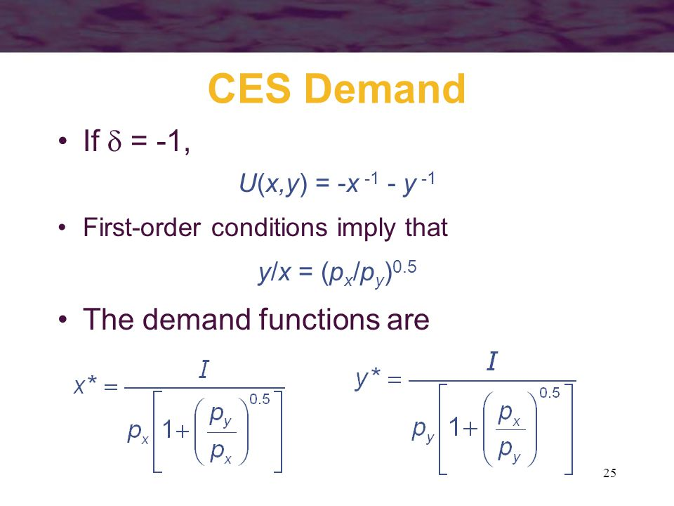 25 CES Demand If  = -1, U(x,y) = -x -1 - y -1 First-order conditions imply that y/x = (p x /p y ) 0.5 The demand functions are