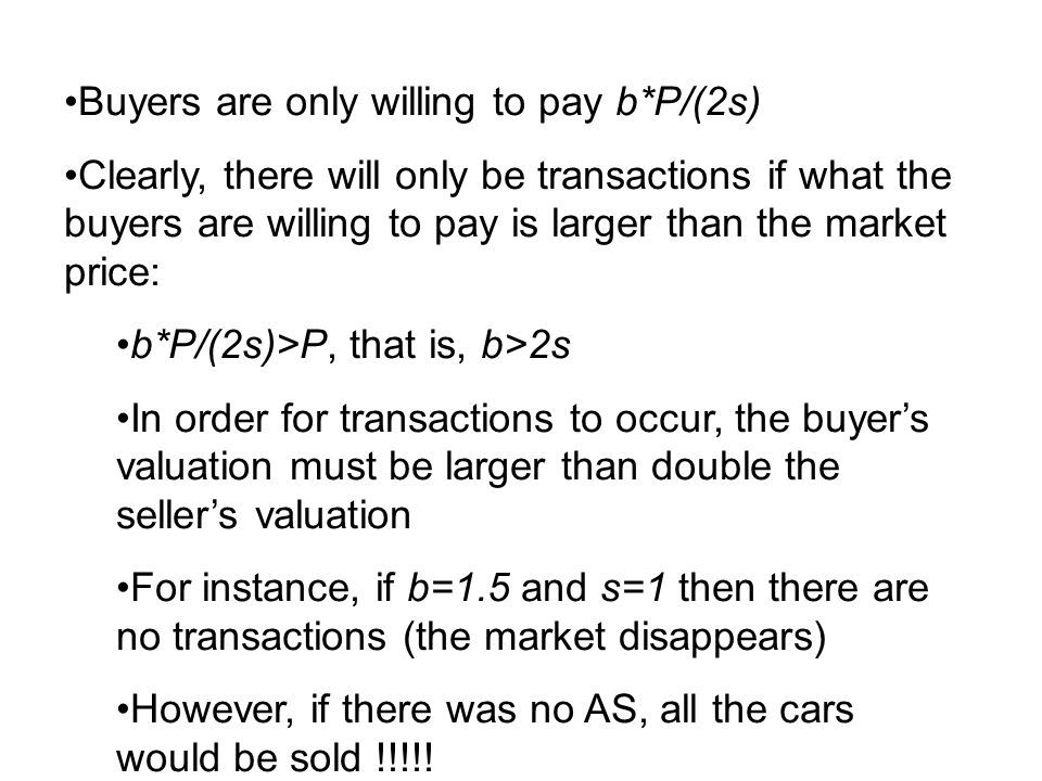 Buyers are only willing to pay b*P/(2s) Clearly, there will only be transactions if what the buyers are willing to pay is larger than the market price
