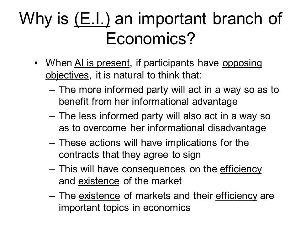 Why is (E.I.) an important branch of Economics? When AI is present, if participants have opposing objectives, it is natural to think that: –The more i