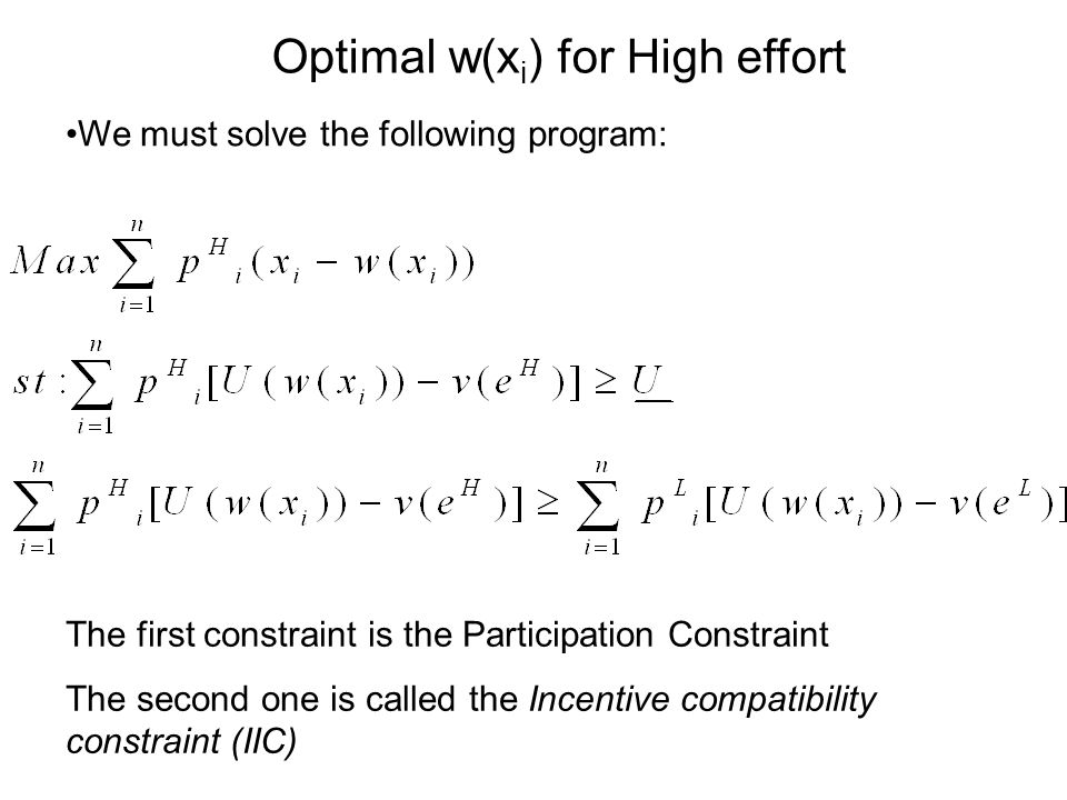 We must solve the following program: The first constraint is the Participation Constraint The second one is called the Incentive compatibility constra