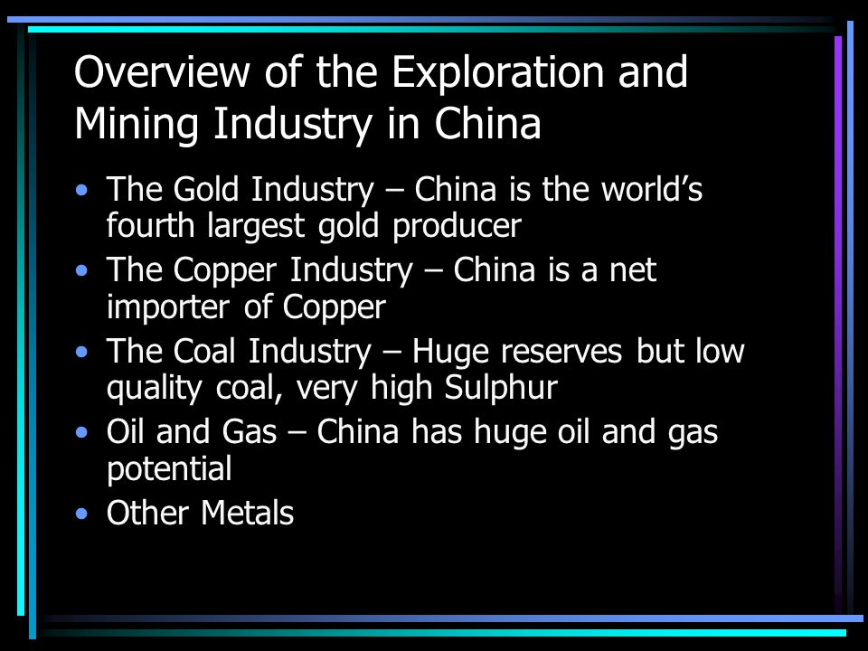 Taxes for Mining Royalty 2% of gross revenue Resource compensation tax 3% of gross revenue for gold, none for other commodities Royalties to local governments 0.5 to 1% of gross revenue VAT 18% of sales but after deductions effectively 7 to 9%; Gold waived Company Tax 33%; 2 yrs tax holiday and 3 yrs half tax rate (extendable further 5 yrs); accelerated depreciation for capex over 5 yrs