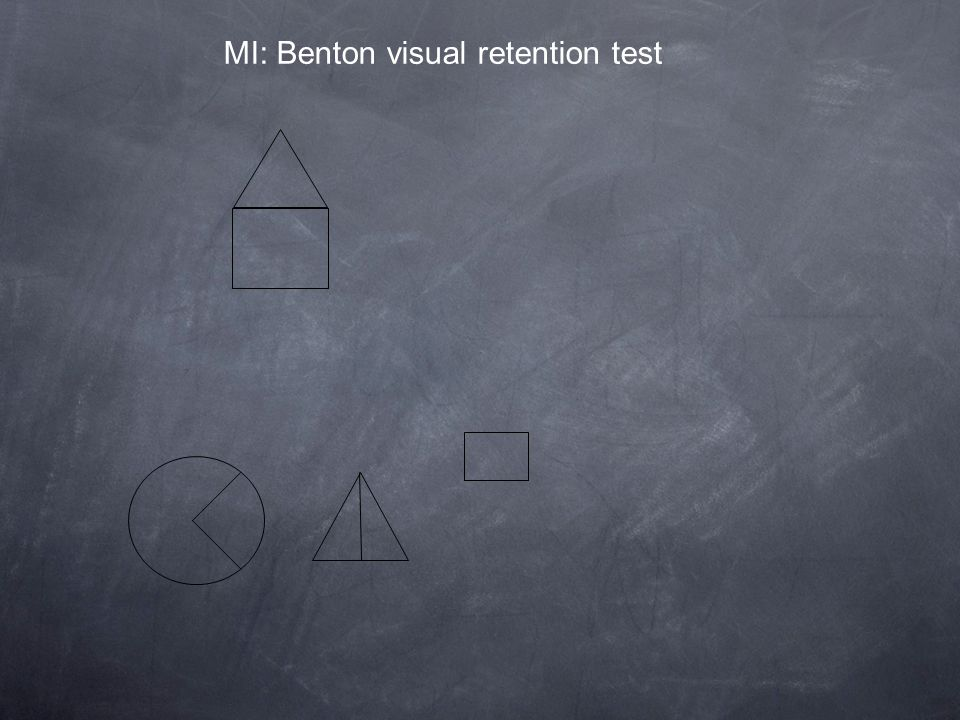 MI: Benton visual retention test