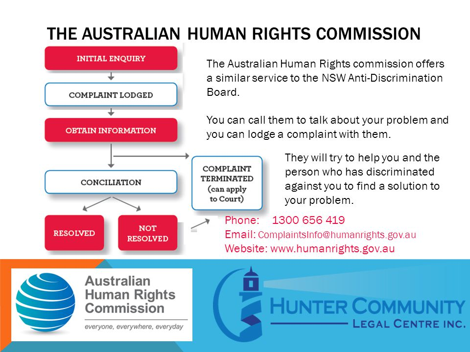 THE AUSTRALIAN HUMAN RIGHTS COMMISSION The Australian Human Rights commission offers a similar service to the NSW Anti-Discrimination Board. You can c