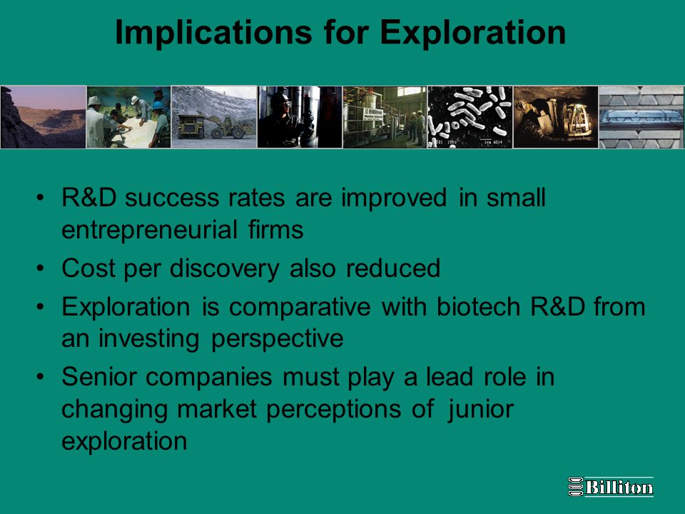 Implications for Exploration R&D success rates are improved in small entrepreneurial firms Cost per discovery also reduced Exploration is comparative with biotech R&D from an investing perspective Senior companies must play a lead role in changing market perceptions of junior exploration