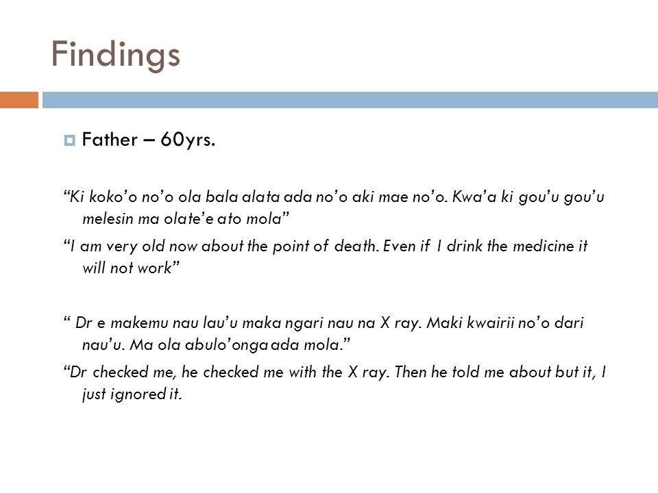 Findings  Father – 60yrs. Ki koko'o no'o ola bala alata ada no'o aki mae no'o.