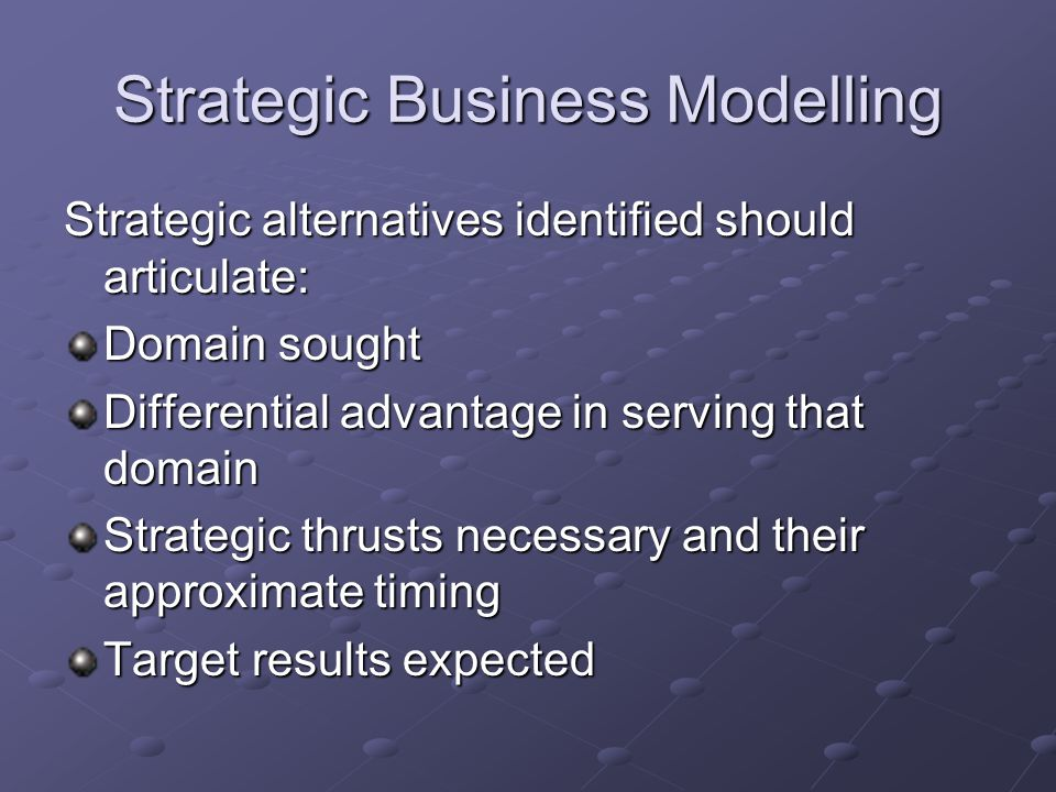 Strategic Business Modelling Strategic alternatives identified should articulate: Domain sought Differential advantage in serving that domain Strategic thrusts necessary and their approximate timing Target results expected