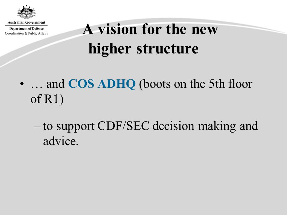 COS ADHQ/HCPA Support SEC/CDF in the management & presentation of Defence.