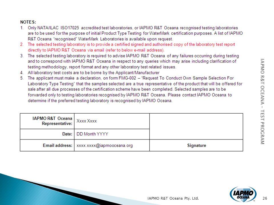 IAPMO R&T Oceana Pty. Ltd.26