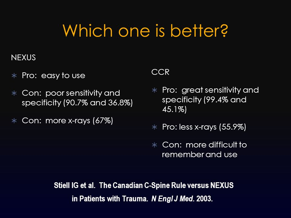 Which one is better? NEXUS  Pro: easy to use  Con: poor sensitivity and specificity (90.7% and 36.8%)  Con: more x-rays (67%) CCR  Pro: great sens