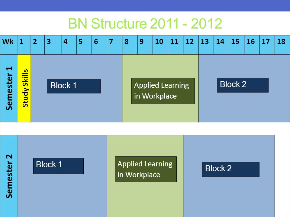 BN Structure 2011 - 2012 Wk123456789101112131415161718 Semester 1 Study Skills Semester 2 Block 1 Block 2 Applied Learning in Workplace