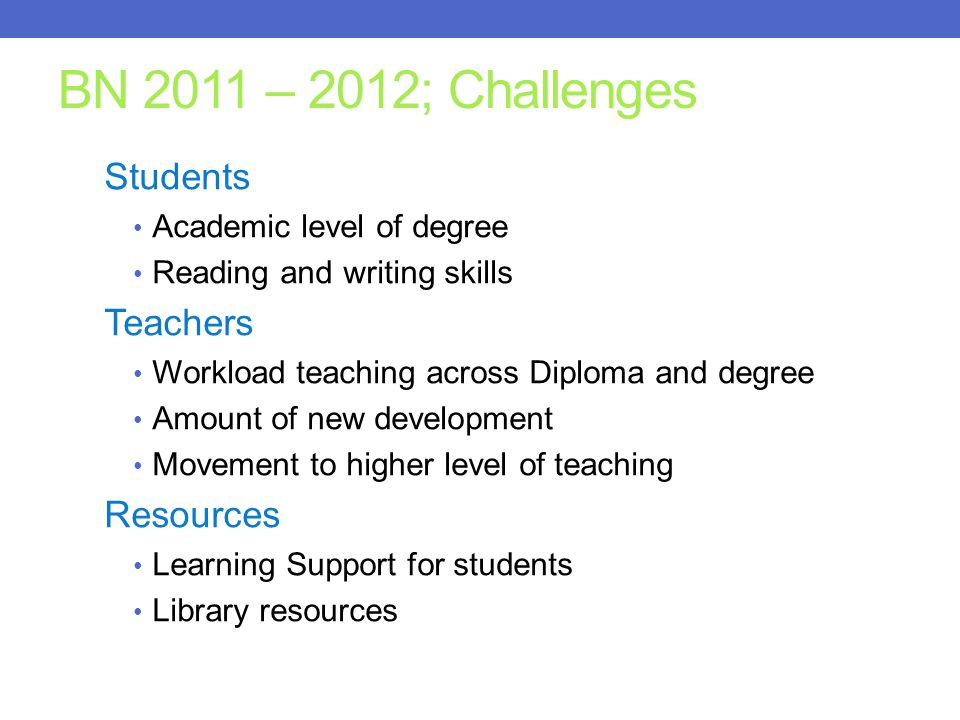 BN 2011 – 2012; Challenges Students Academic level of degree Reading and writing skills Teachers Workload teaching across Diploma and degree Amount of new development Movement to higher level of teaching Resources Learning Support for students Library resources