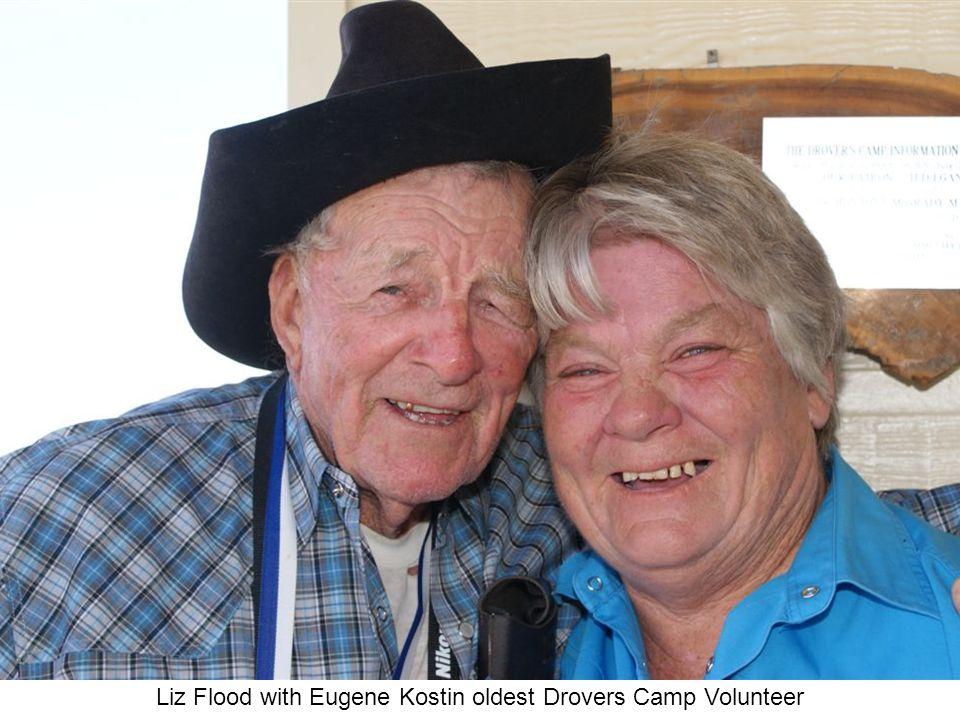 Liz Flood with Eugene Kostin oldest Drovers Camp Volunteer