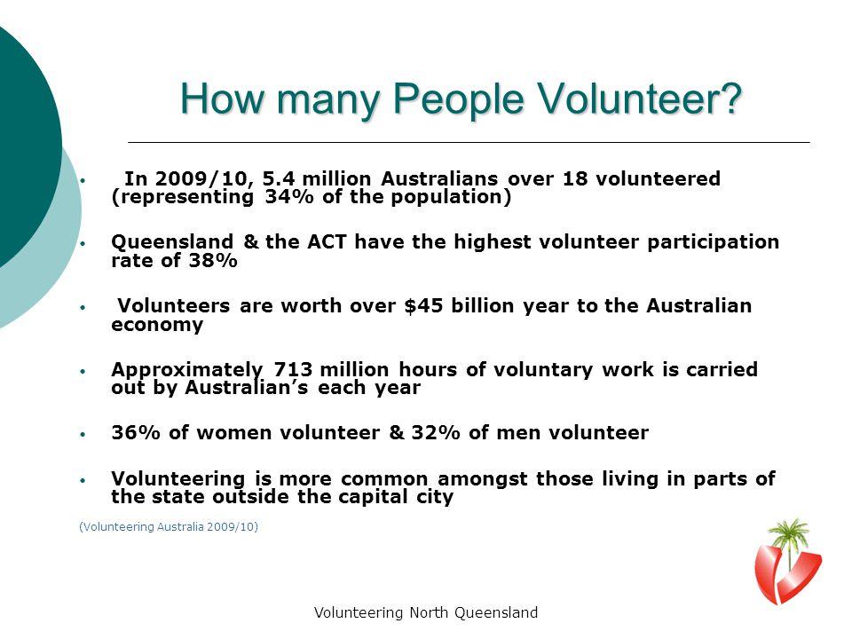 Volunteering North Queensland How many People Volunteer.