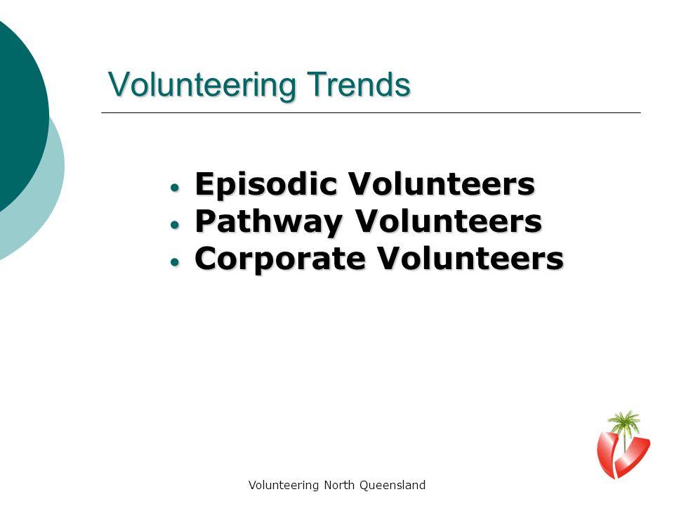 Volunteering North Queensland Volunteering Trends Episodic Volunteers Episodic Volunteers Pathway Volunteers Pathway Volunteers Corporate Volunteers Corporate Volunteers