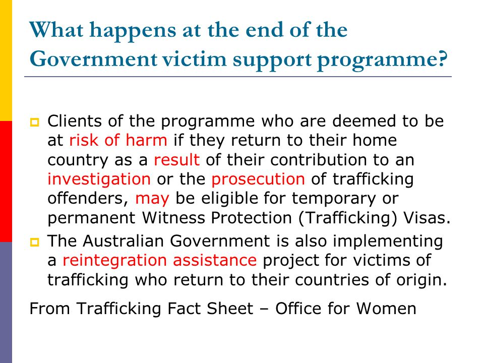 What happens at the end of the Government victim support programme.