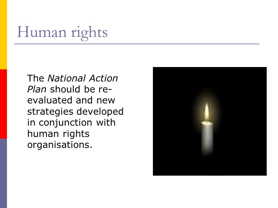 Human rights The National Action Plan should be re- evaluated and new strategies developed in conjunction with human rights organisations.
