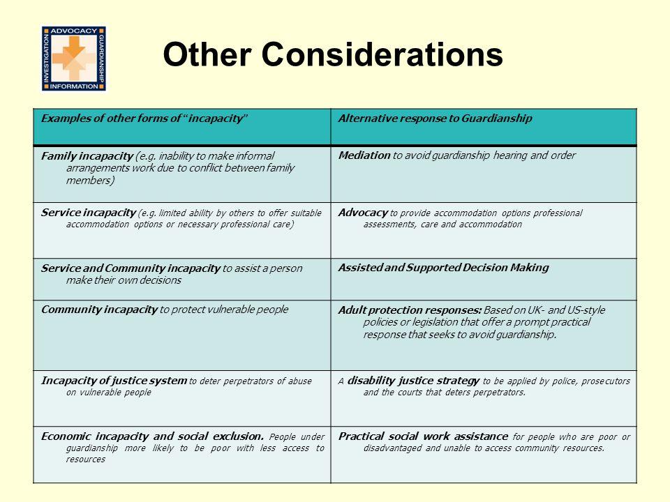 Examples of other forms of incapacity Alternative response to Guardianship Family incapacity (e.g.