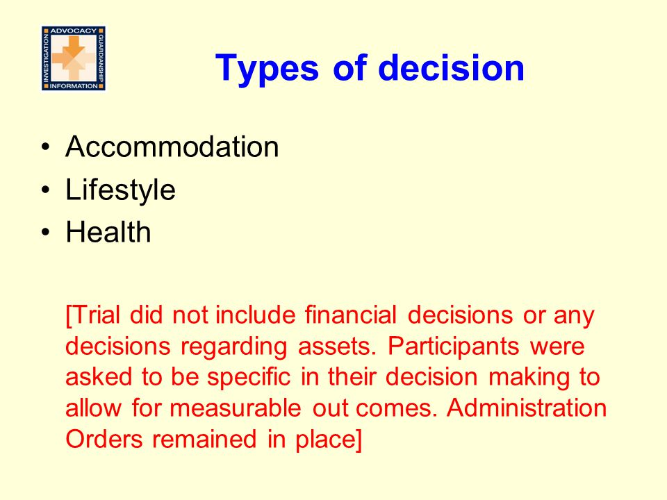 Types of decision Accommodation Lifestyle Health [Trial did not include financial decisions or any decisions regarding assets.