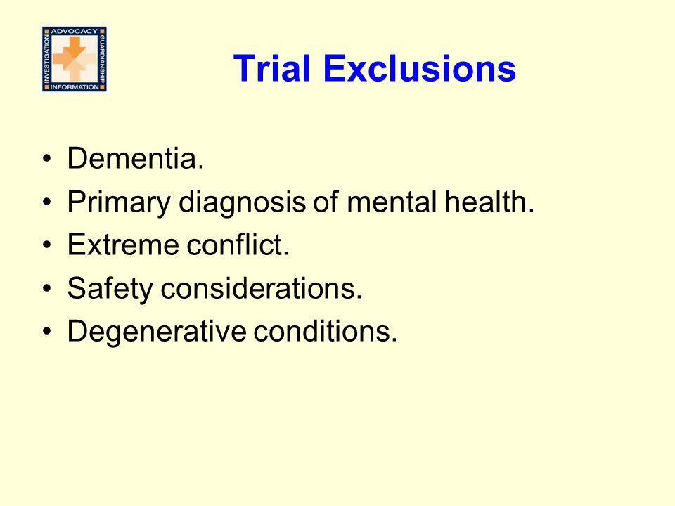 Trial Exclusions Dementia.Primary diagnosis of mental health.