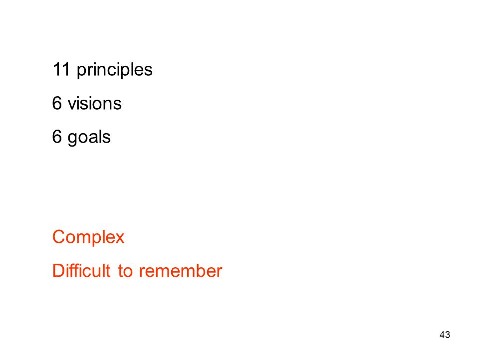 43 11 principles 6 visions 6 goals Complex Difficult to remember