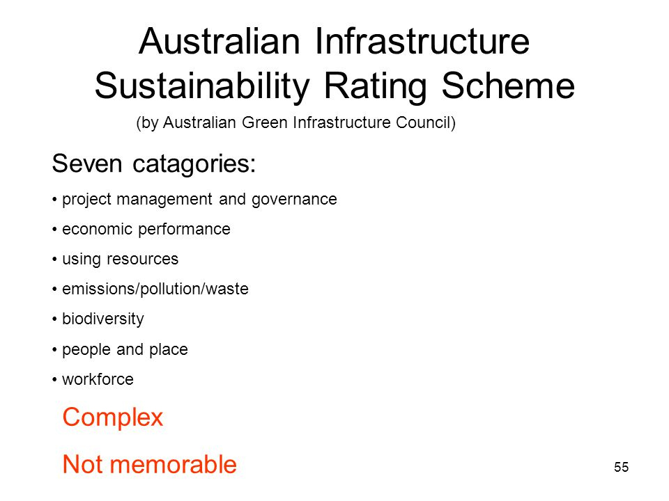 55 Australian Infrastructure Sustainability Rating Scheme Seven catagories: project management and governance economic performance using resources emissions/pollution/waste biodiversity people and place workforce Complex Not memorable (by Australian Green Infrastructure Council)