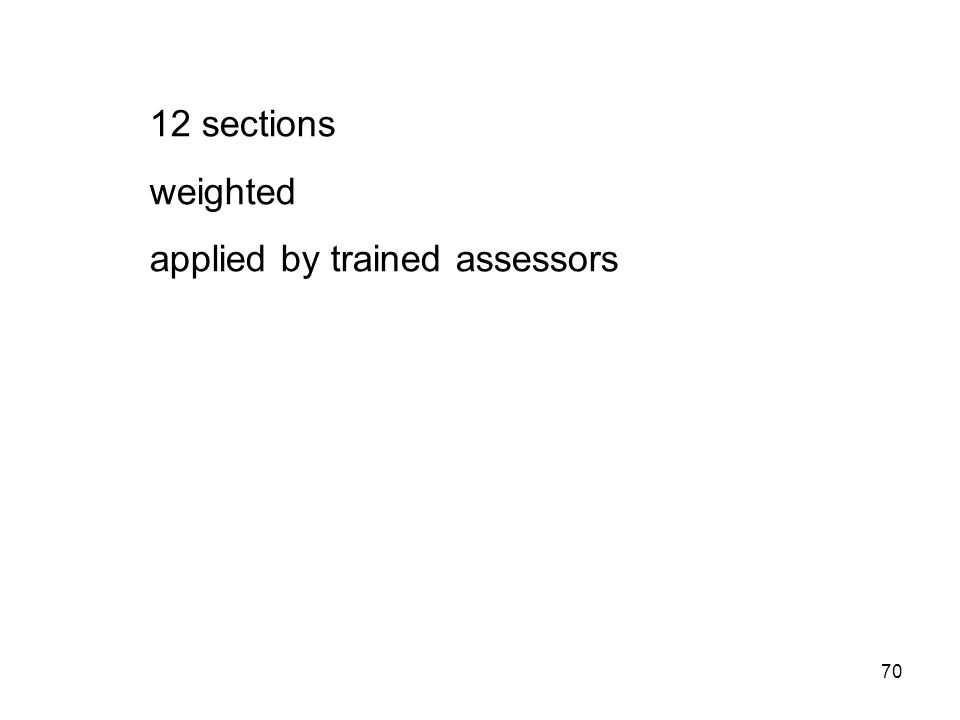 70 12 sections weighted applied by trained assessors