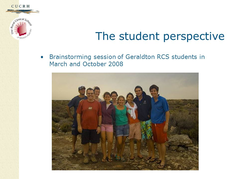The student perspective Brainstorming session of Geraldton RCS students in March and October 2008