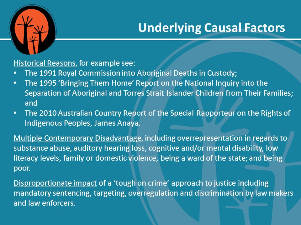 Underlying Causal Factors Historical Reasons, for example see: The 1991 Royal Commission into Aboriginal Deaths in Custody; The 1995 'Bringing Them Home' Report on the National Inquiry into the Separation of Aboriginal and Torres Strait Islander Children from Their Families; and The 2010 Australian Country Report of the Special Rapporteur on the Rights of Indigenous Peoples, James Anaya.