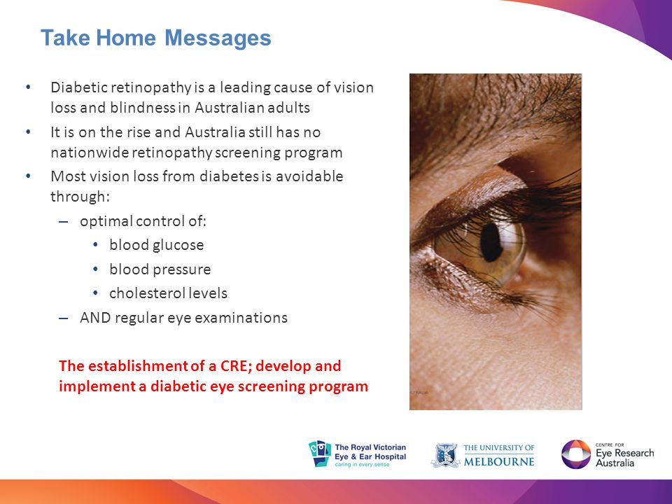 Take Home Messages Diabetic retinopathy is a leading cause of vision loss and blindness in Australian adults It is on the rise and Australia still has