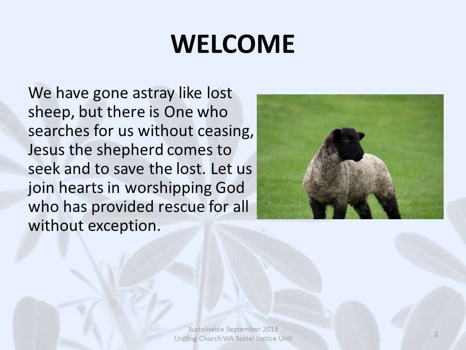 WELCOME We have gone astray like lost sheep, but there is One who searches for us without ceasing, Jesus the shepherd comes to seek and to save the lost.