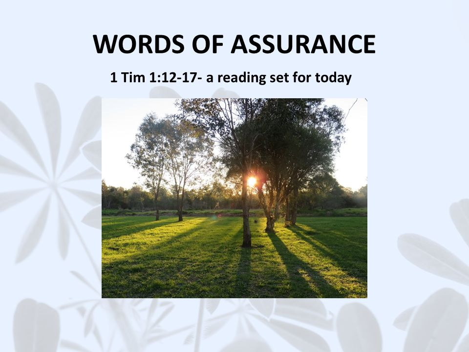 WORDS OF ASSURANCE 1 Tim 1: a reading set for today