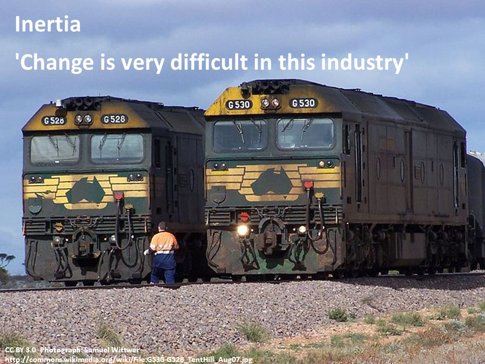 Change is very difficult in this industry Inertia CC BY 3.0 Photograph: Samuel Wittwer http://commons.wikimedia.org/wiki/File:G530-G528_TentHill_Aug07.jpg