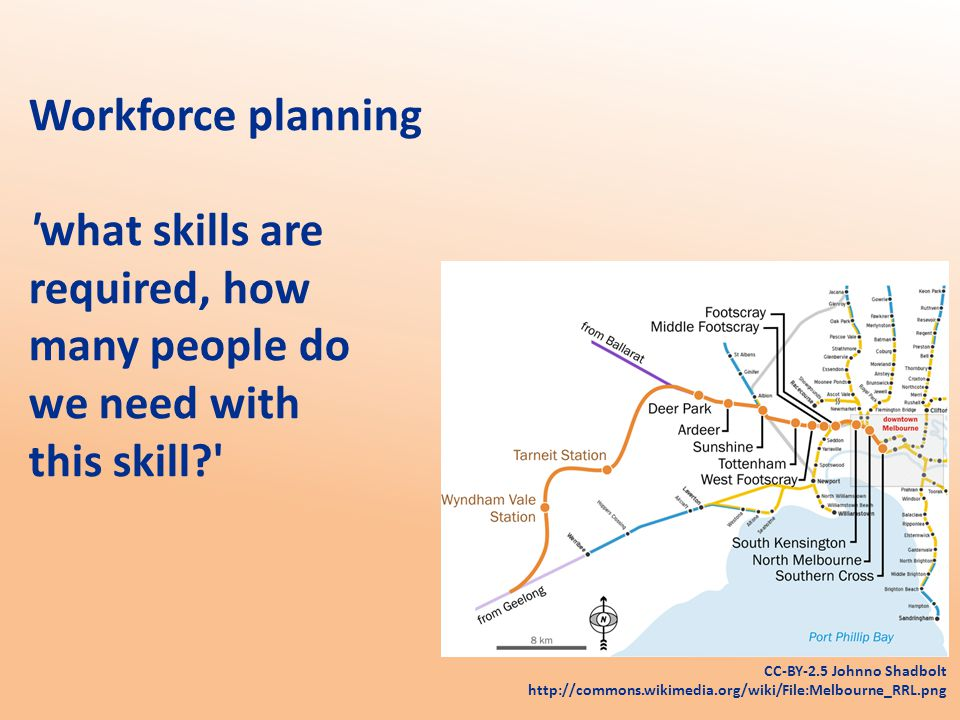Workforce planning what skills are required, how many people do we need with this skill CC-BY-2.5 Johnno Shadbolt http://commons.wikimedia.org/wiki/File:Melbourne_RRL.png