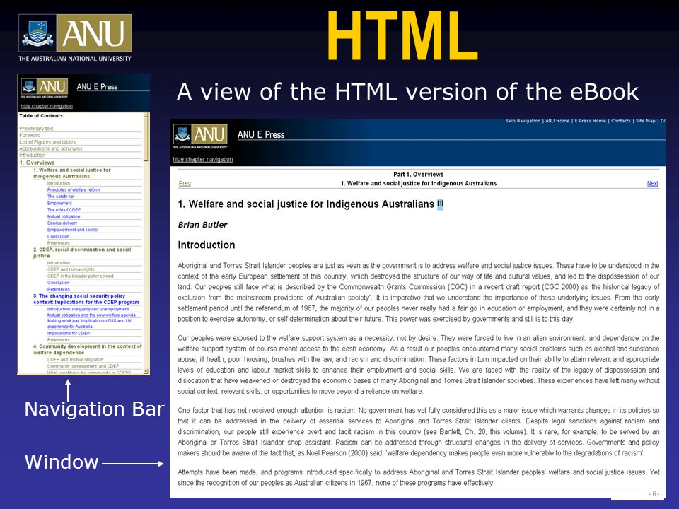 HTML A view of the HTML version of the eBook Navigation Bar Window