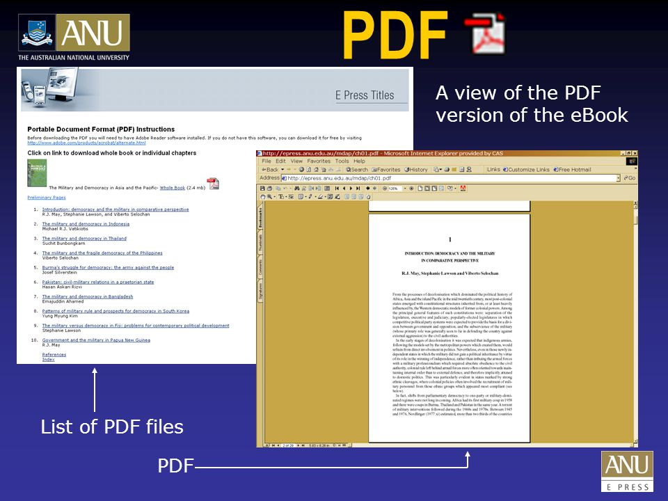 PDF A view of the PDF version of the eBook List of PDF files PDF