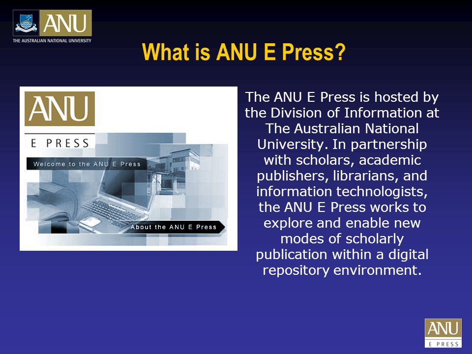 What is ANU E Press.