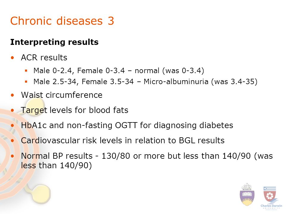 Chronic diseases 3 Interpreting results ACR results  Male 0-2.4, Female 0-3.4 – normal (was 0-3.4)  Male 2.5-34, Female 3.5-34 – Micro-albuminuria (was 3.4-35) Waist circumference Target levels for blood fats HbA1c and non-fasting OGTT for diagnosing diabetes Cardiovascular risk levels in relation to BGL results Normal BP results - 130/80 or more but less than 140/90 (was less than 140/90)